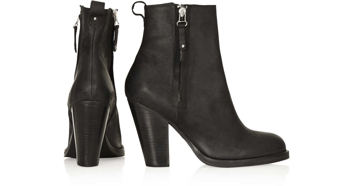 d20a53824 TOPSHOP Angel Leather Heeled Boots in Black - Lyst