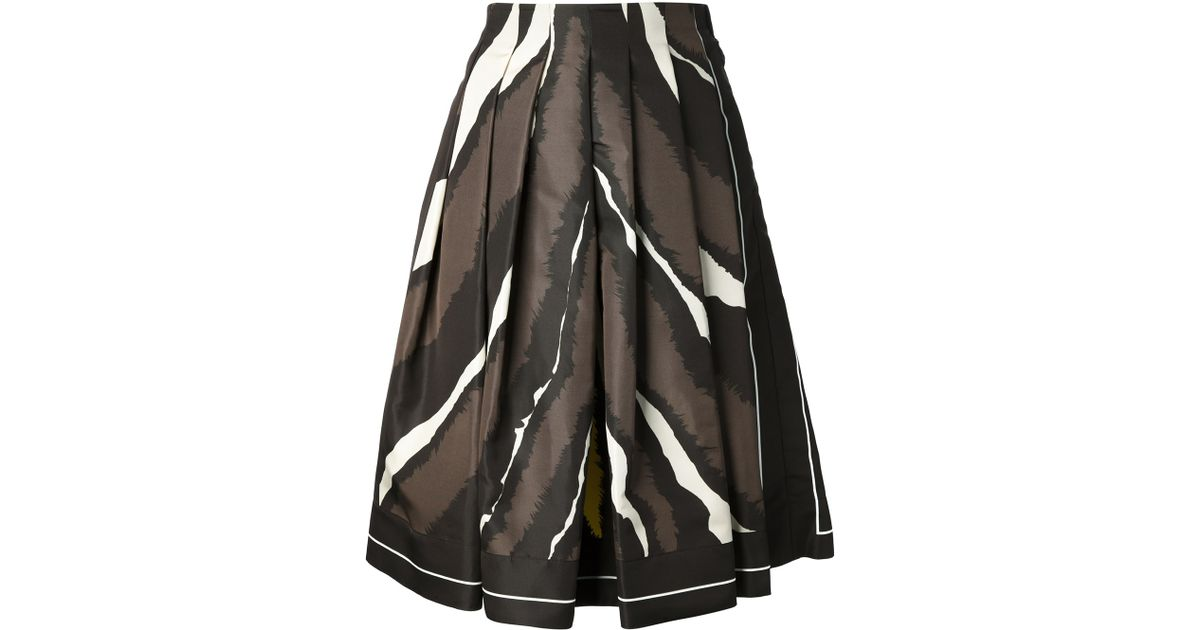 Fendi Animal Print Pleated Skirt in Brown | Lyst