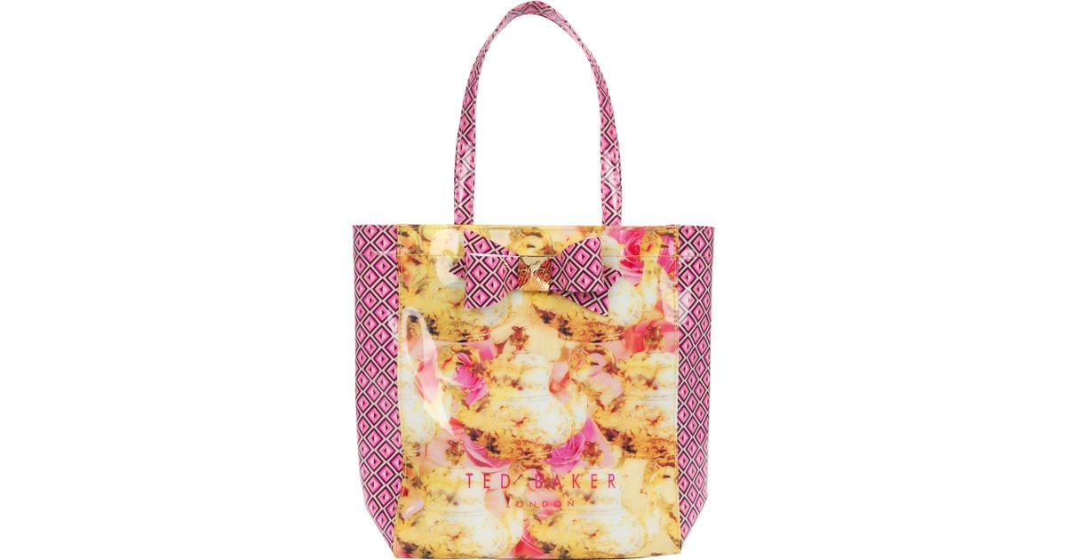 f58b74449a5bc Ted Baker Printed Bow Small Icon Shopper Bag in Yellow - Lyst