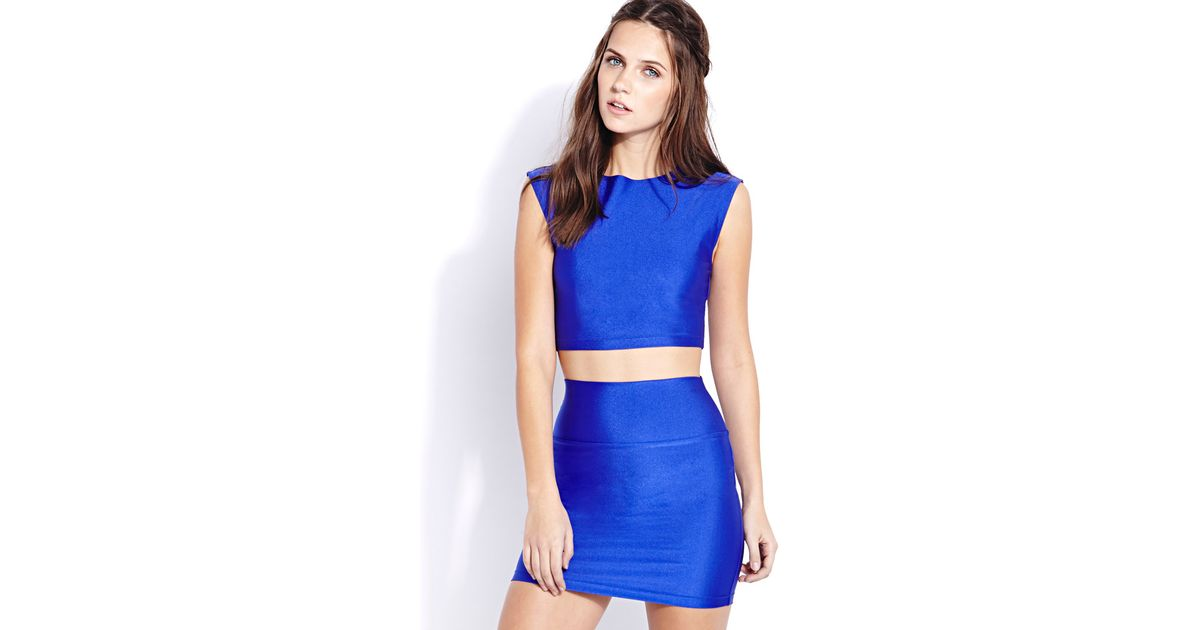 Forever 21 Shine On Sleeveless Crop Top In Blue