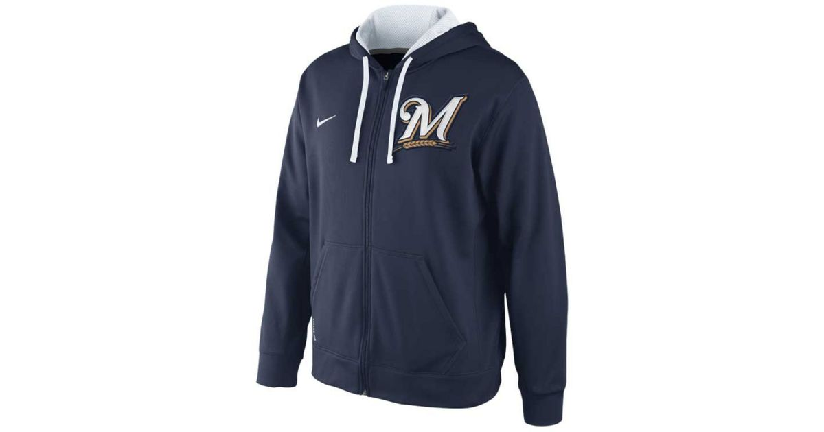 wholesale dealer 3b4ef bcb09 Nike Blue Mens Milwaukee Brewers Thermafit Fullzip Hoodie Sweatshirt for men
