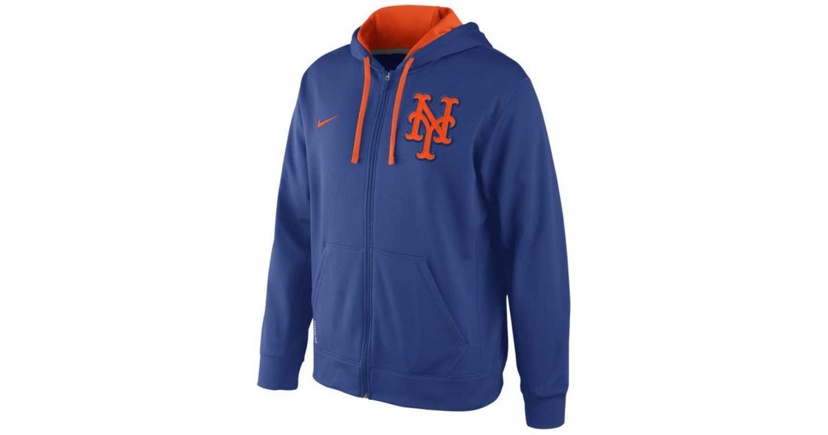 cheaper f384f 9f422 Nike Blue Mens New York Mets Thermafit Fullzip Hoodie Sweatshirt for men