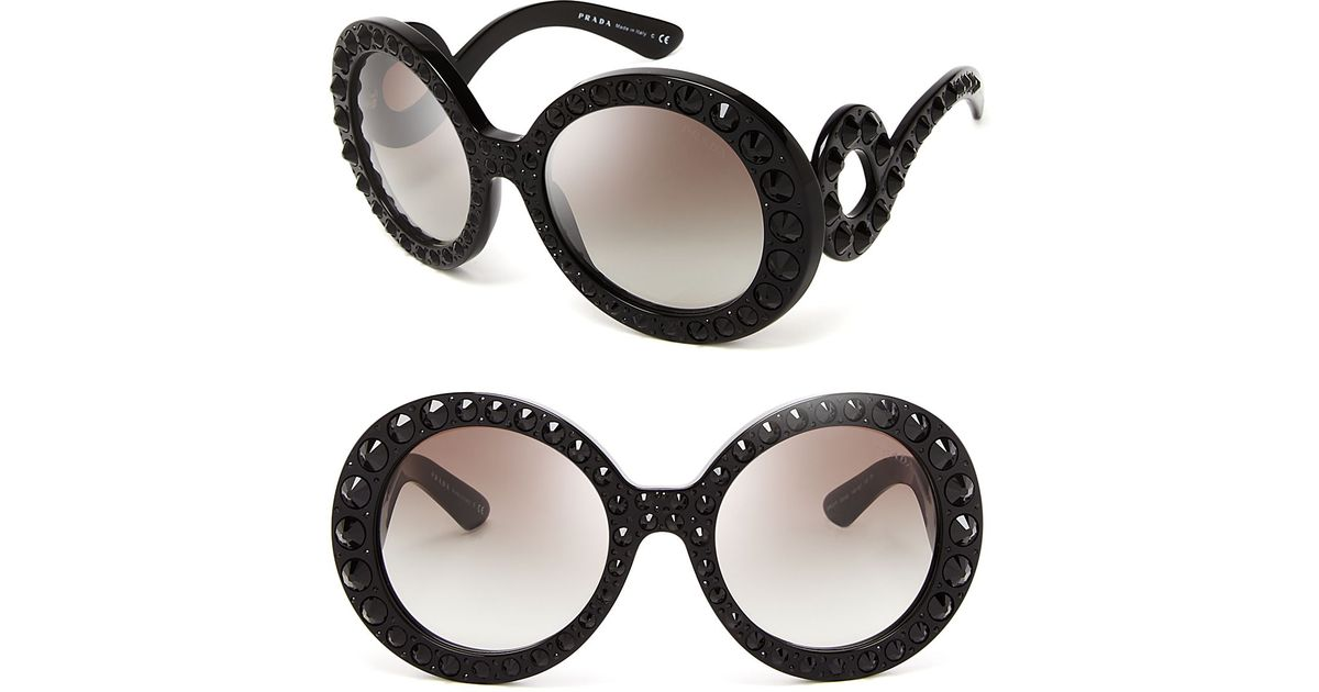 3e6223d5f0e0c ... real lyst prada round absolute baroque crystal sunglasses in black  588ab a422f