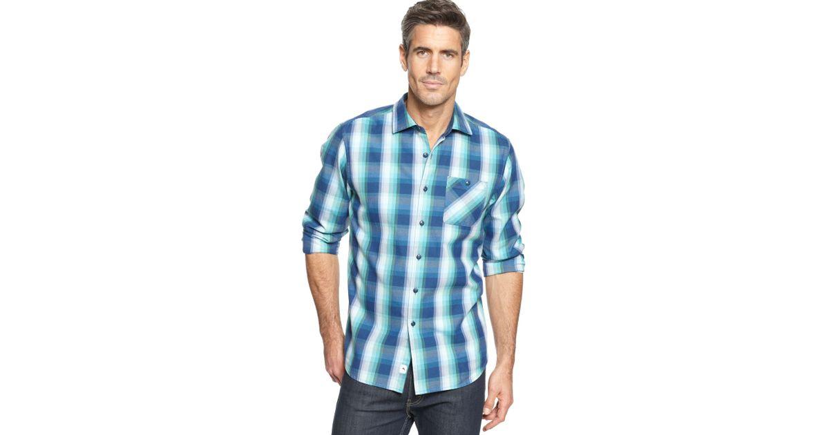 Lyst tommy bahama cabin plaid long sleeve shirt in blue for Tommy bahama long sleeve dress shirts