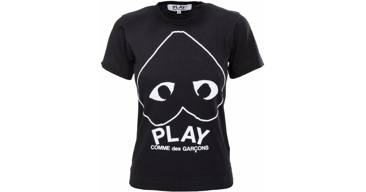 Comme des garçons Play Womens Upside Down Heart Outline T-shirt Black in Black   Lyst
