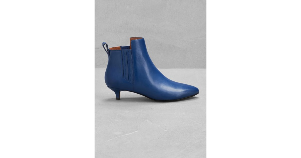 700def1260a & Other Stories Blue Leather Kitten Heel Ankle Boots