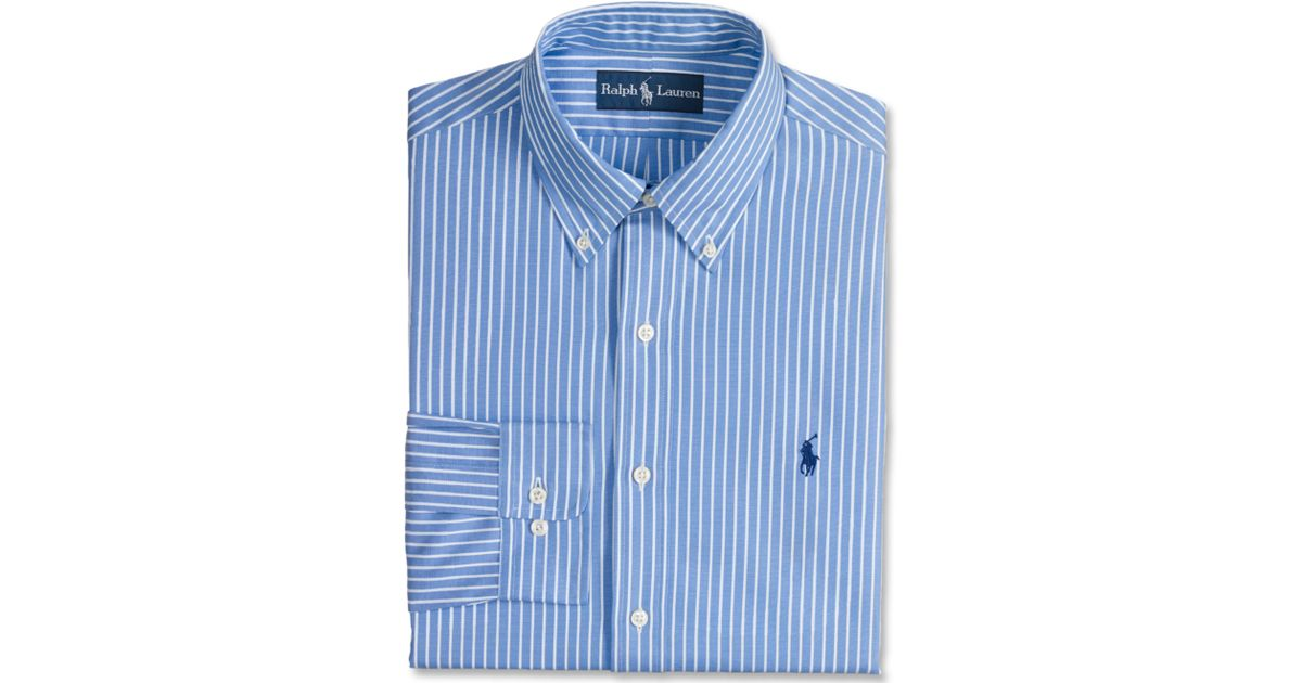outlet online various design competitive price Ralph Lauren Polo Custom Fit Blue and White Stripe Dress Shirt for men