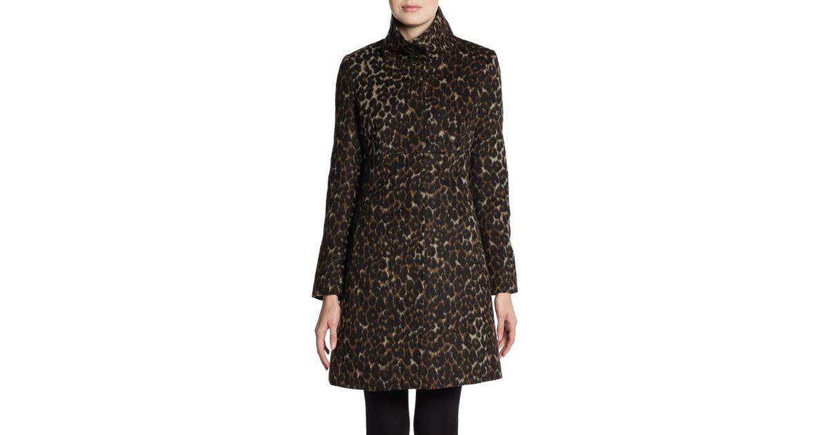Via Spiga Leopardprint Stand Collar Coat In Brown Lyst