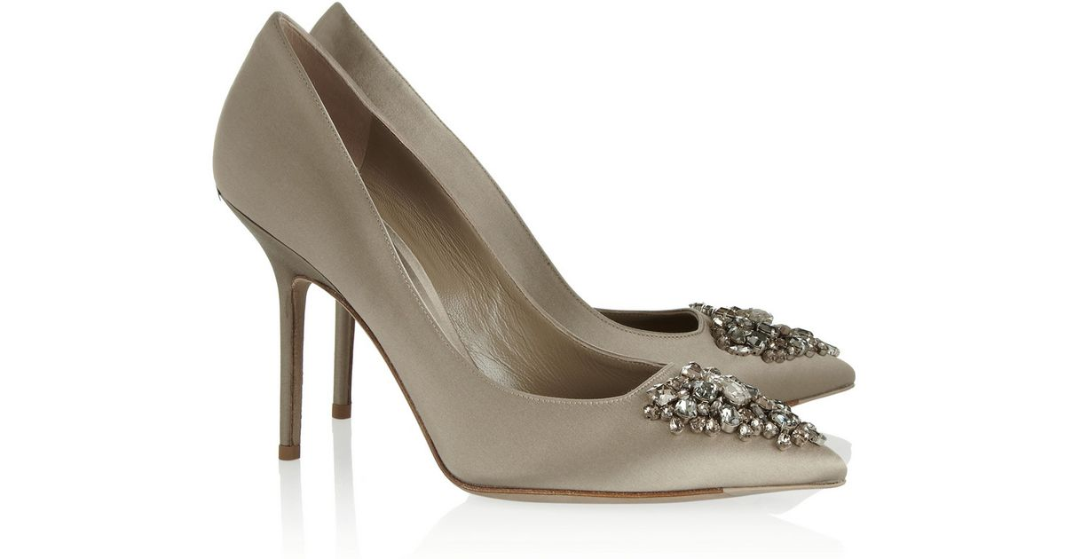Lyst - Burberry Crystal-Embellished Satin Pumps in Gray 00870388a6