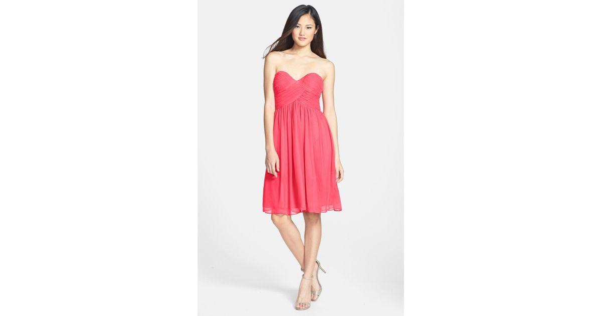 Donna morgan Morgan Strapless Silk Chiffon Dress in Pink | Lyst