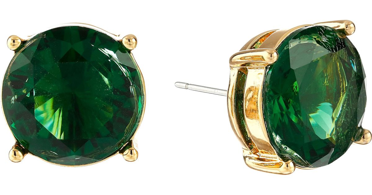 03f1462cc Lauren by Ralph Lauren Large Faceted Round Stone Stud Earrings in Green -  Lyst