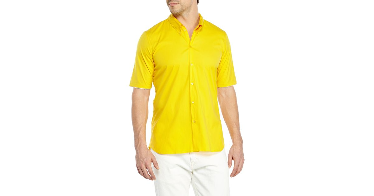 Lyst - Jil sander Short Sleeve Button-Down Shirt in Yellow for Men