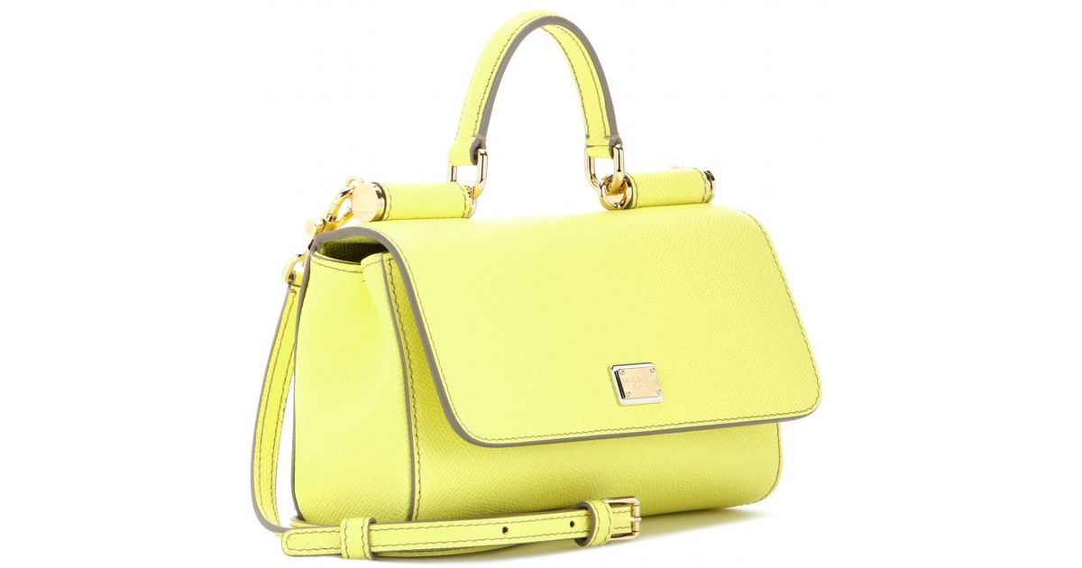 9c52fbfea5 Lyst - Dolce   Gabbana Mini Miss Sicily Leather Shoulder Bag in Yellow