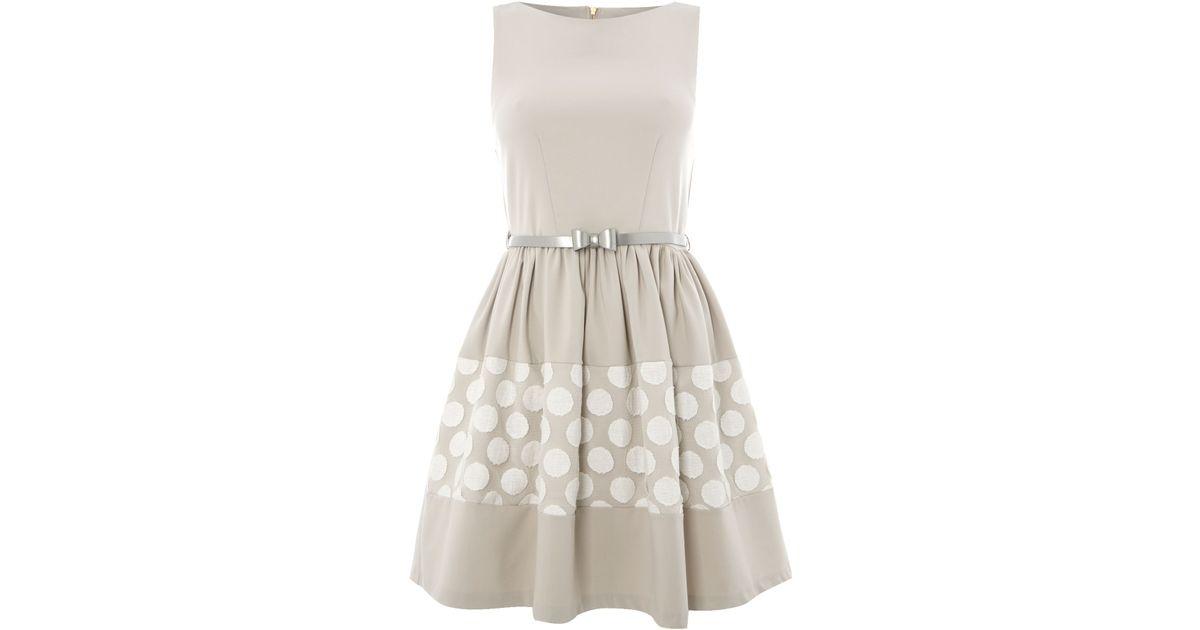almari big spot lace bow belt dress in gray grey lyst