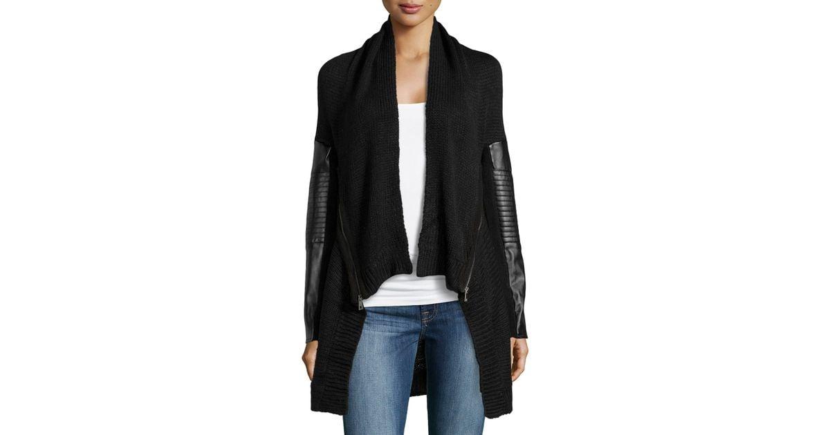 f021a60a8 Lyst - Dex Faux-Leather-Detail Knit Cardigan in Black