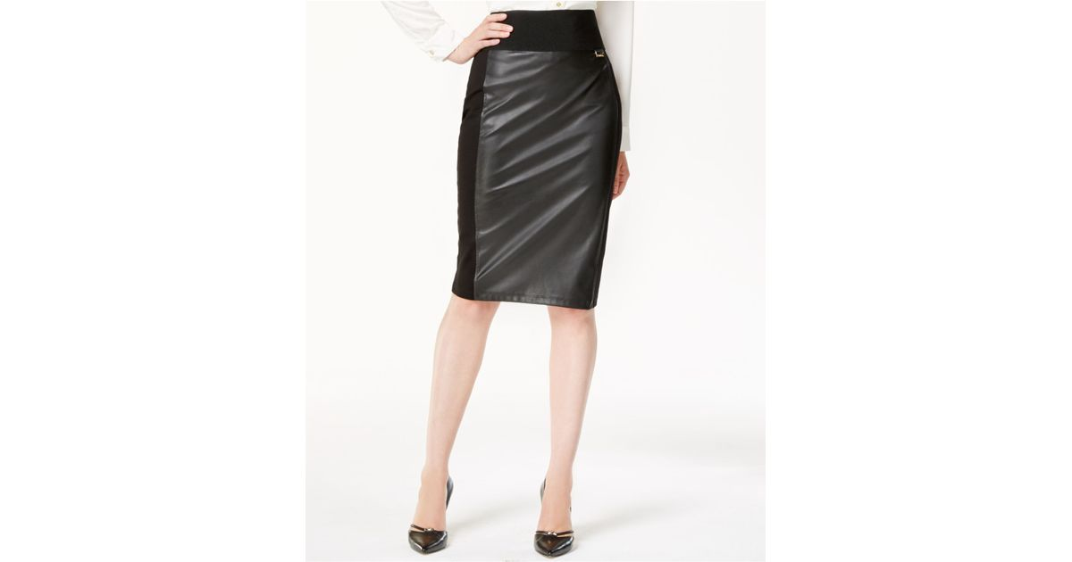 calvin klein faux leather panel pencil skirt in black lyst