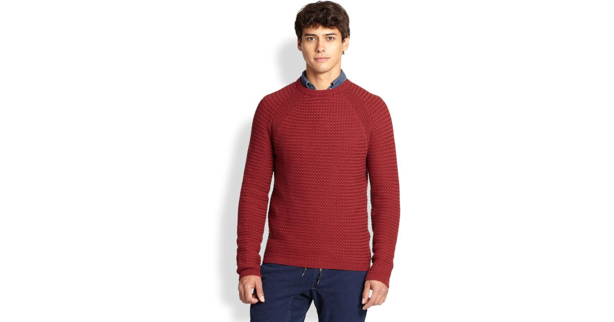 Basket Weaving Supplies Nyc : Madison supply cotton basket weave sweater in red for men