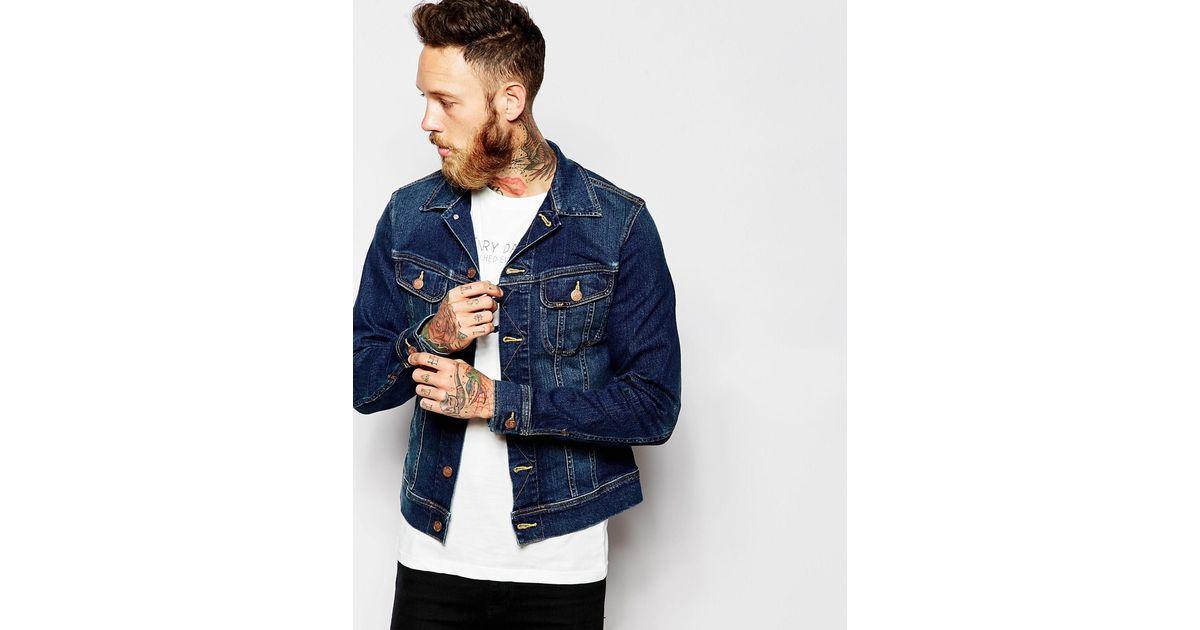 ad9c0ca4 Lee Jeans Denim Jacket Rider Slim Fit Stretch Favourite Worn Mid Wash in  Blue for Men - Lyst
