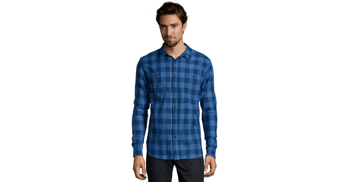 Jachs blue and grey plaid woven flannel button front shirt for Grey plaid shirt womens