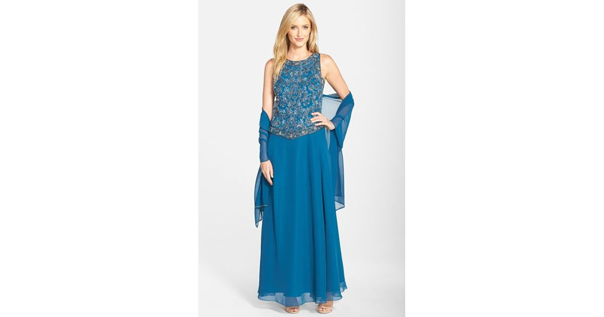 Lyst - J Kara Beaded Chiffon Gown With Shawl in Blue