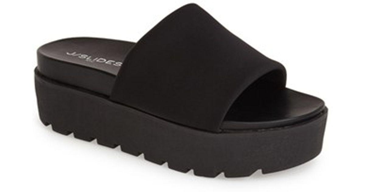 f8b20896fc9 Lyst - J Slides  Telly  Flatform Slide Sandal in Black