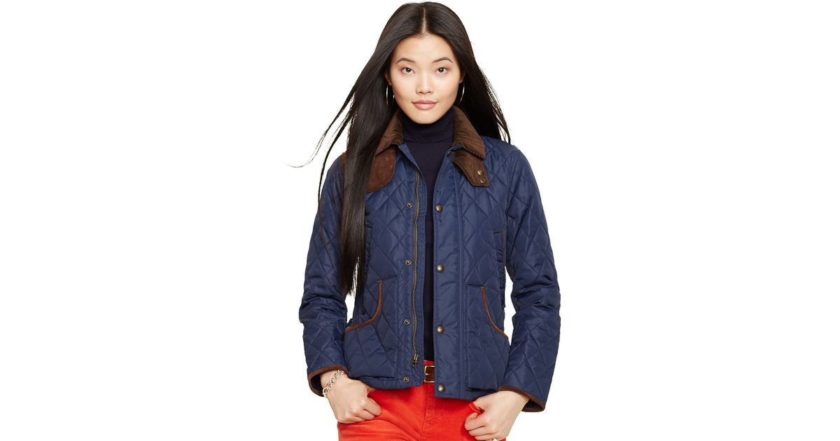 Lyst Polo Ralph Lauren Suede Trim Quilted Jacket In Blue