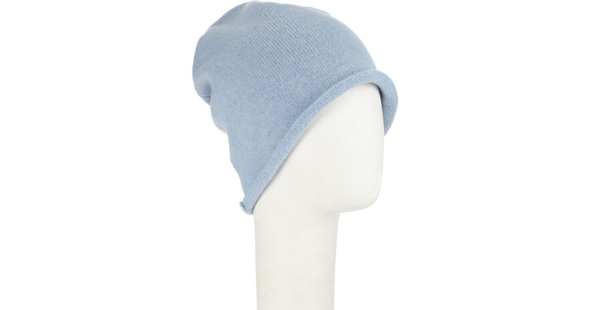 e7c40a28d John Lewis Blue Made In Italy Cashmere Roll Beanie Hat