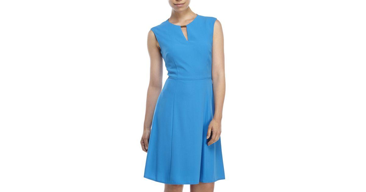 82ded2c82bcb Lyst - Tahari Tahari By Arthur S. Levine Fit & Flare Keyhole Dress in Blue