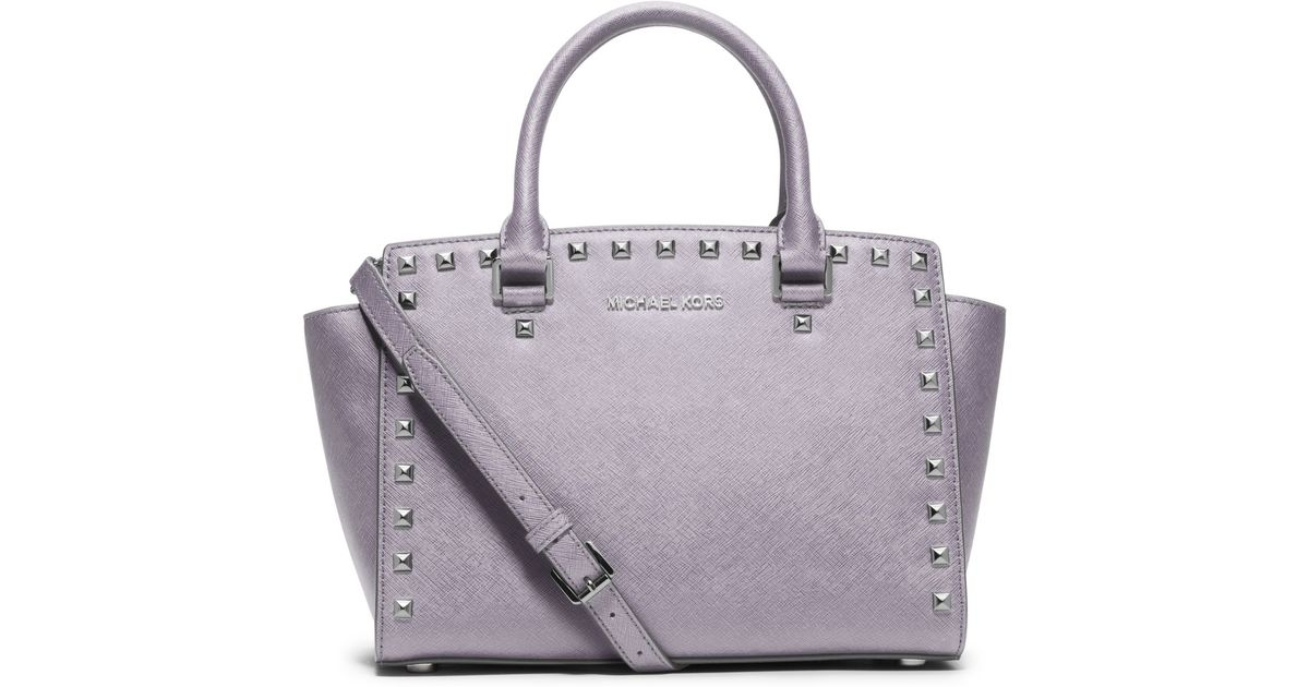 75a14837d1f9 Lyst - Michael Kors Selma Studded Saffiano Leather Satchel in Gray