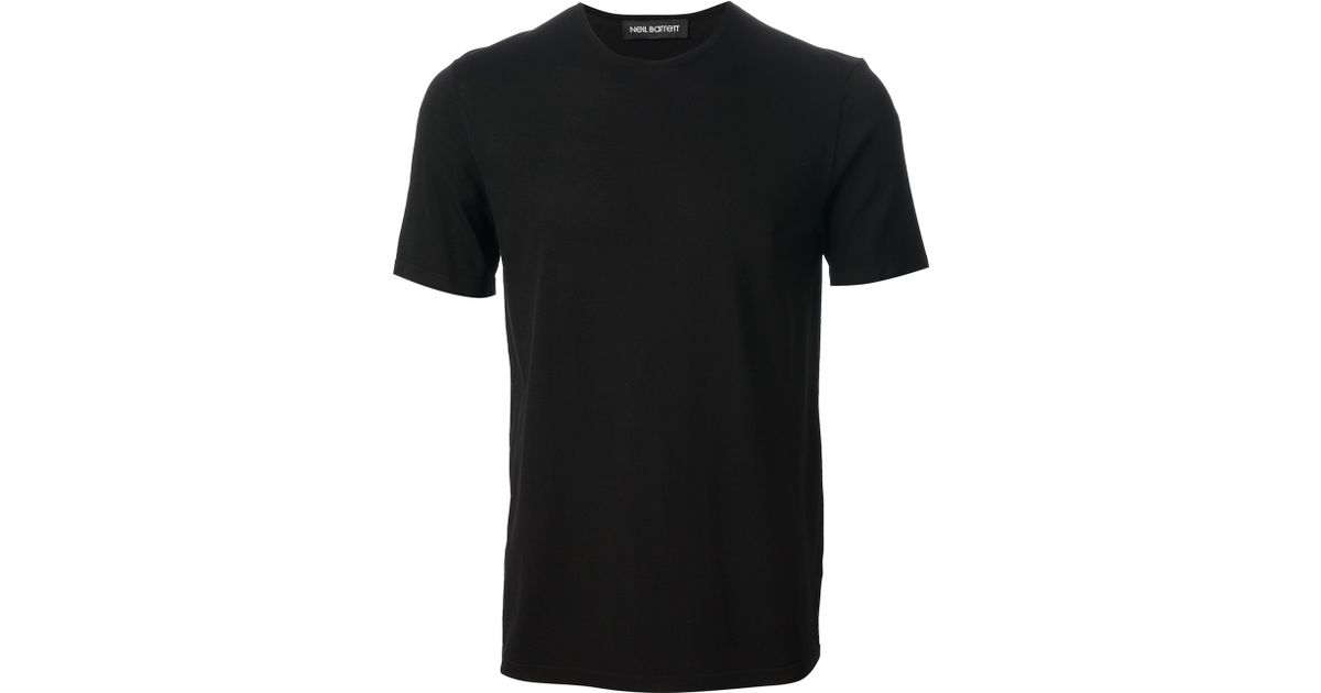 Neil barrett plain t shirt in black for men lyst for T shirt plain black