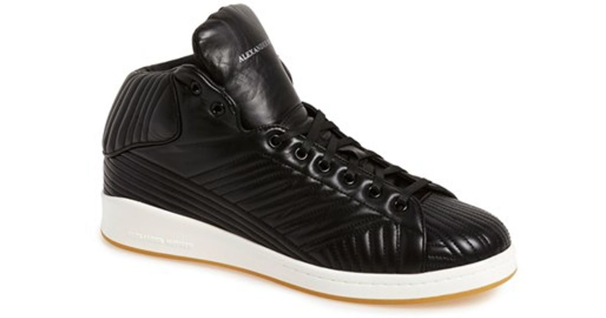 mcqueen quilted high top sneaker in black black