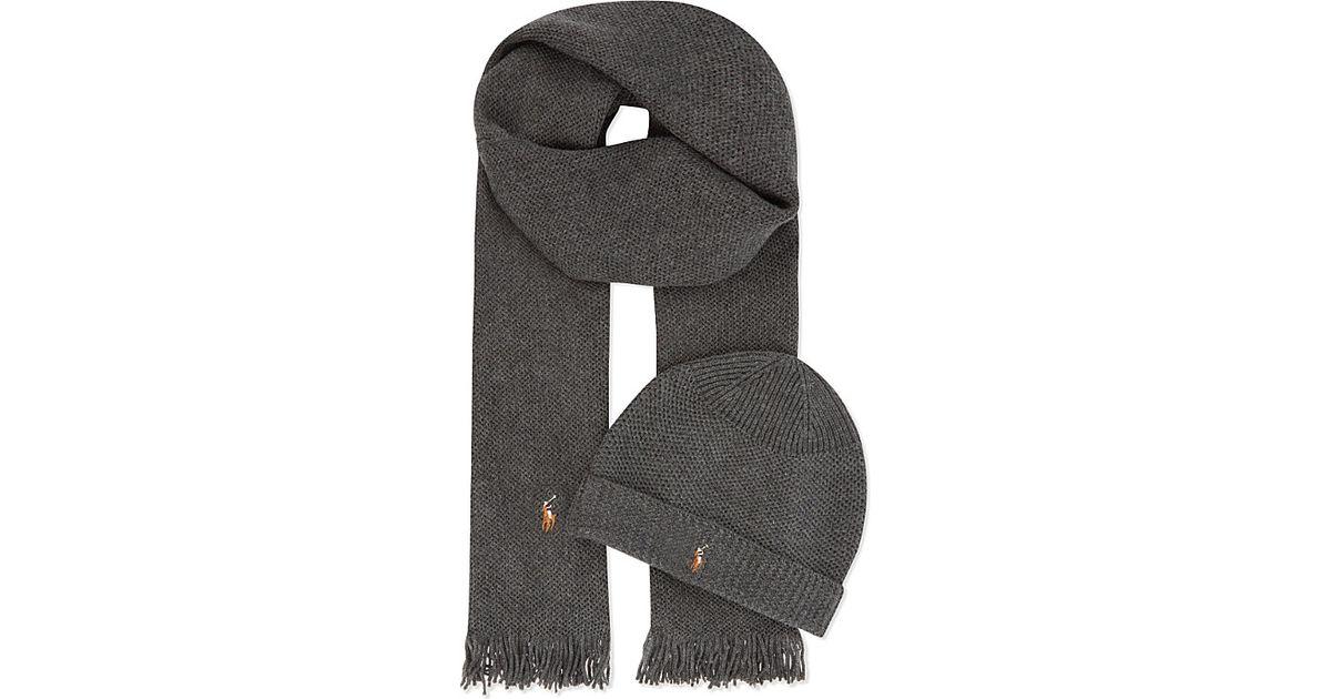 Ralph Lauren Merino Wool Scarf And Hat Set in Black for Men - Lyst 1d47c02b80b