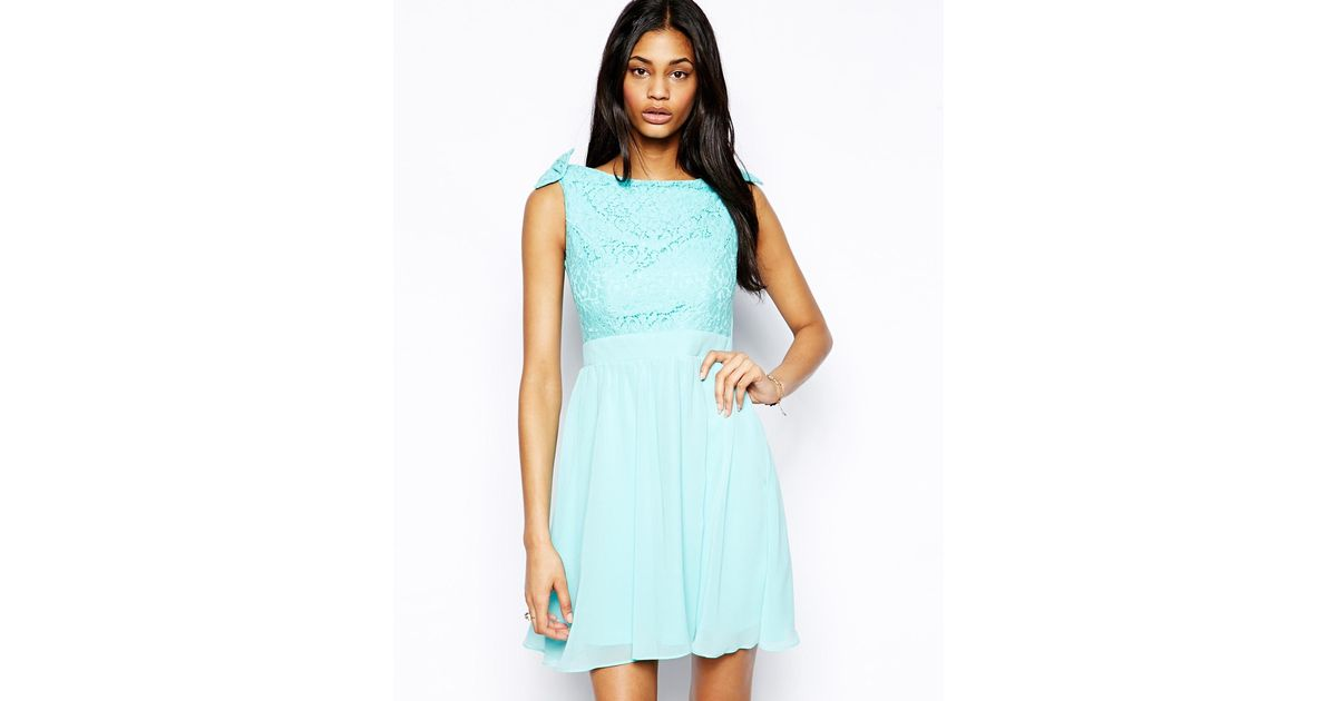 Lyst - Little Mistress Prom Dress With Lace Bardot Top in Green