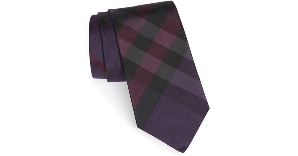 a05fe3f90a44 ... uk burberry clinton check silk tie purple in purple for men lyst 16980  106a5 czech lyst burberry london ...