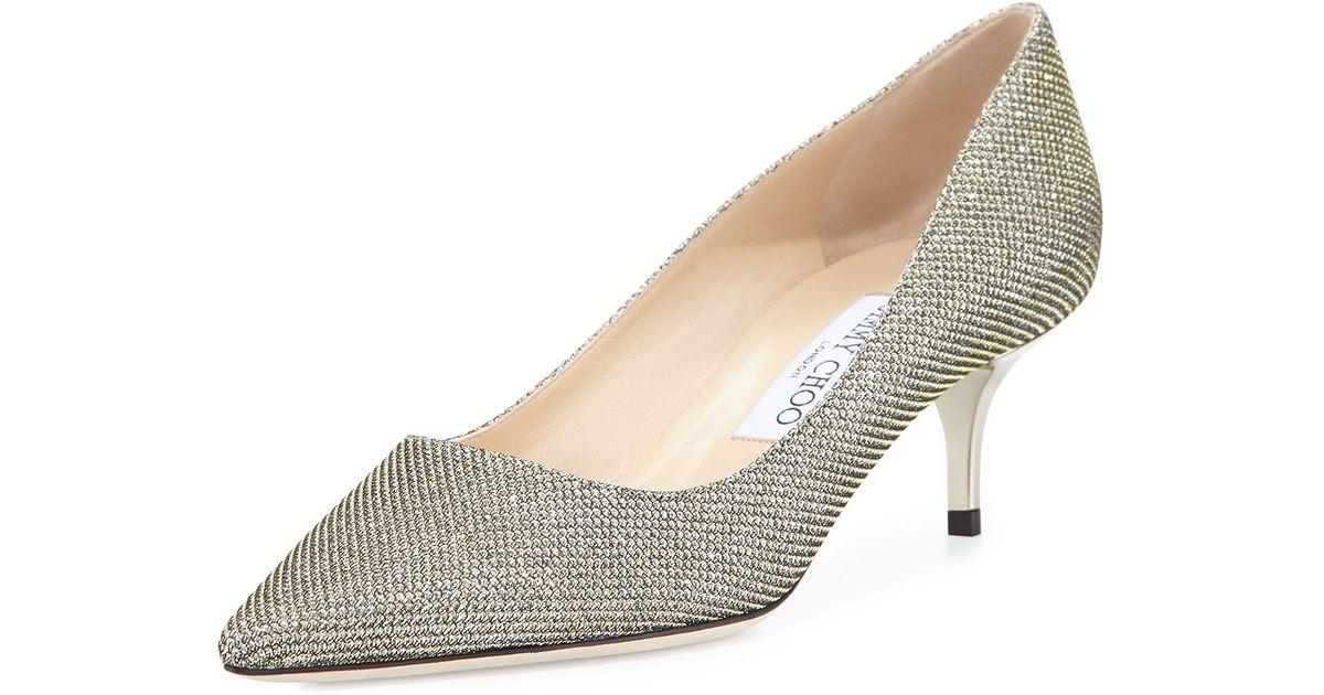 82ede59f9746 Jimmy Choo Aza Glitter Heels in Metallic - Lyst