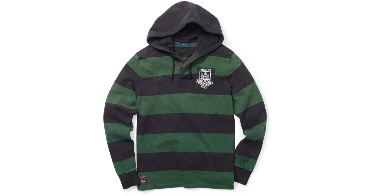 2a8d8ef67e9 ... switzerland polo ralph lauren striped hooded rugby shirt in green for  men lyst e3360 aa8c9