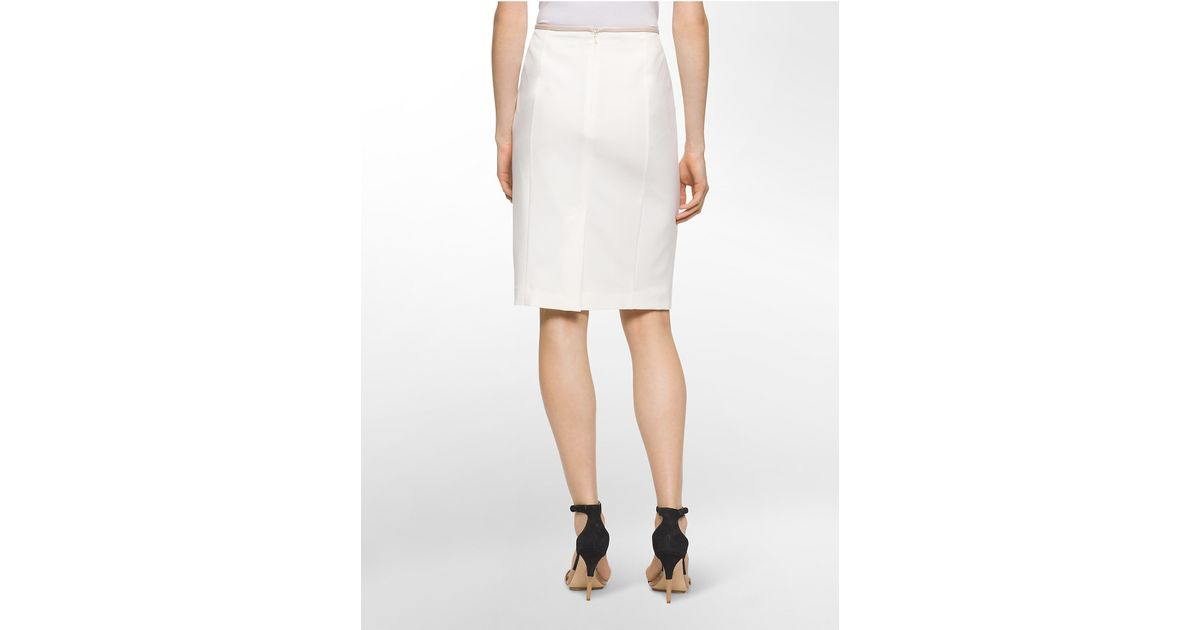 calvin klein white label faux leather trim pencil skirt in