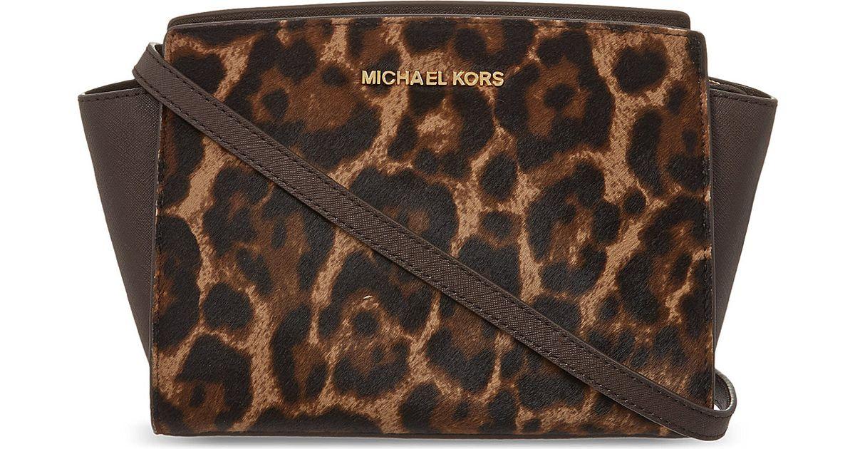 84fbe1671ffd ... hot michael michael kors selma medium leopard print shoulder bag  leopard lyst 6eaf5 564ad