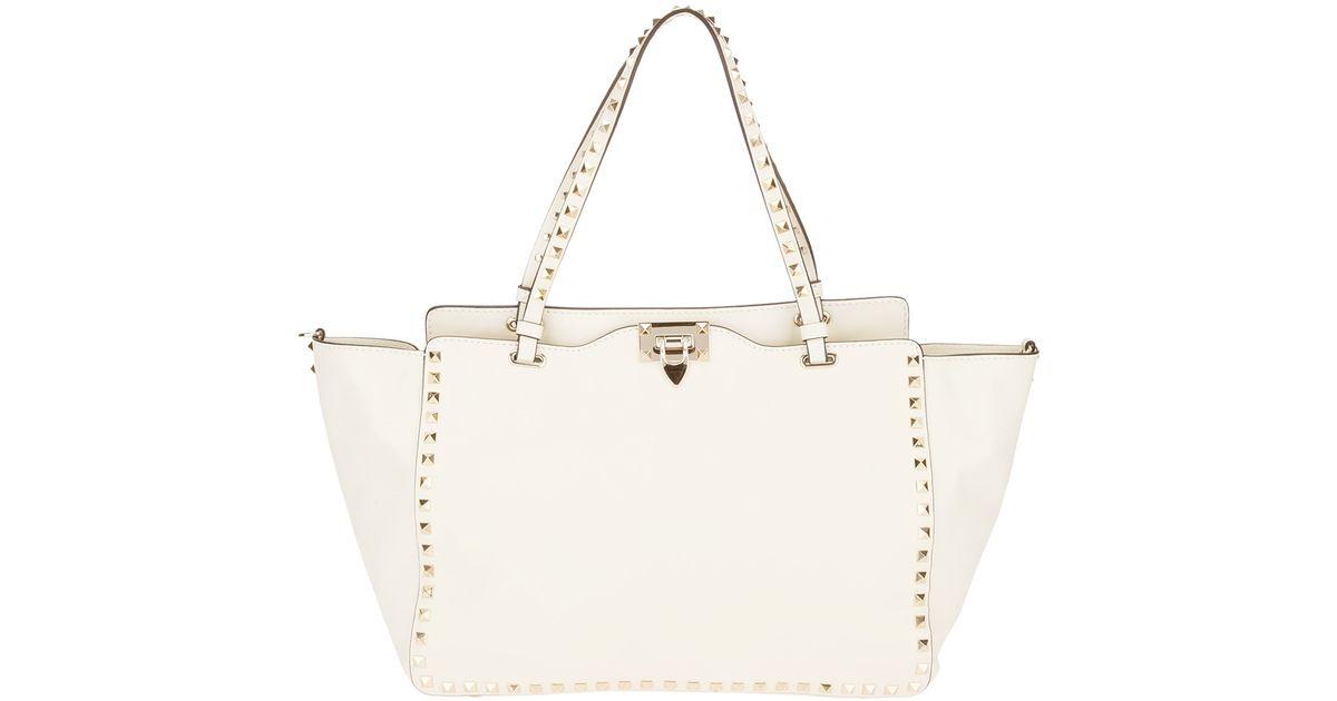 Valentino Rockstud Tote Bag in White - Lyst
