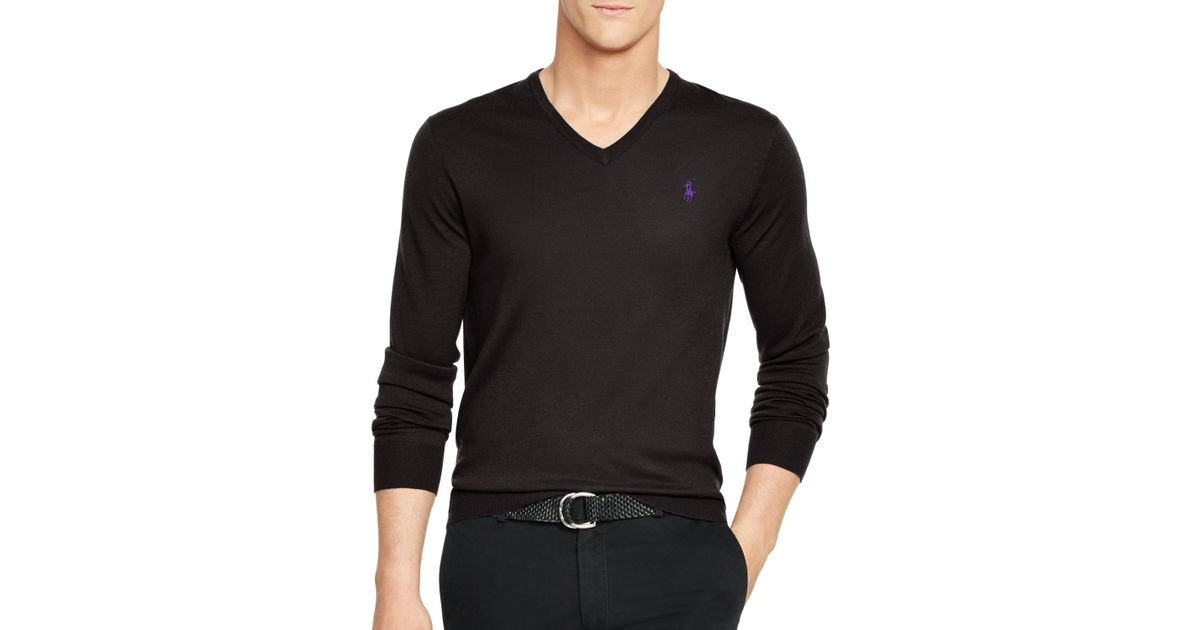 premium selection ab7de 91ddc Polo Ralph Lauren Black Slim-fit Merino V-neck Sweater for men