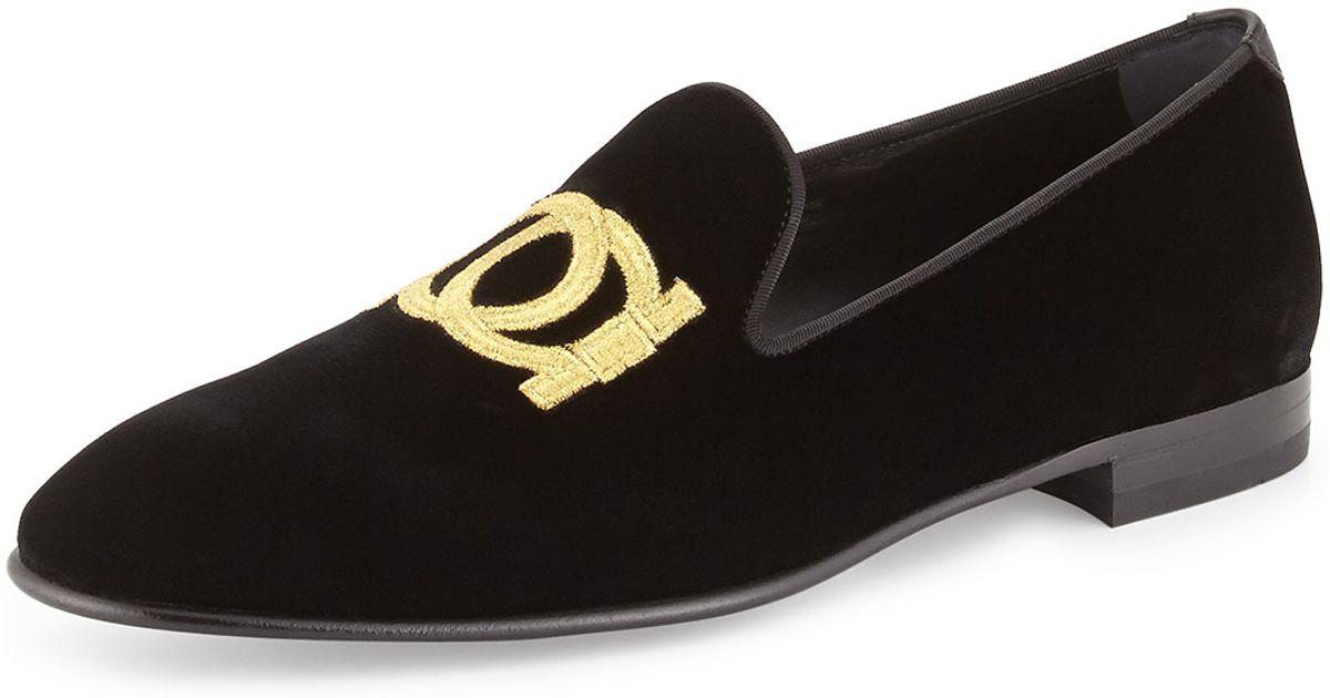 ae0f1cf23b3 Lyst - Ferragamo Manhattan Velvet Loafer With Gancini Embroidery in Black  for Men