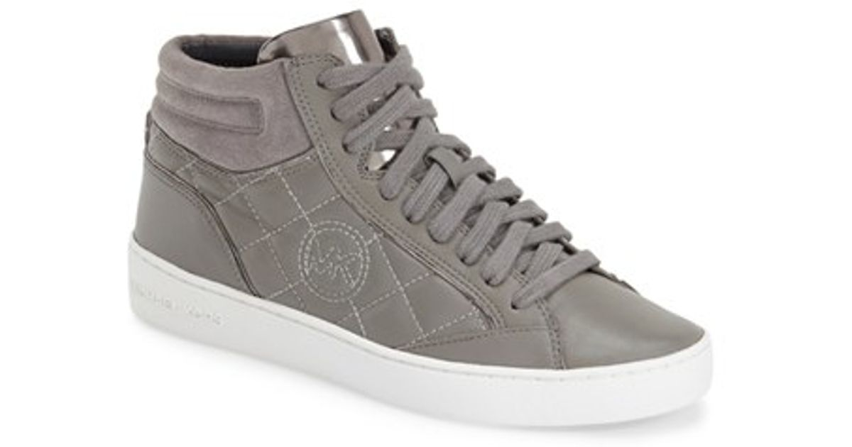 michael michael kors 39 paige 39 quilted high top sneaker in gray lyst. Black Bedroom Furniture Sets. Home Design Ideas