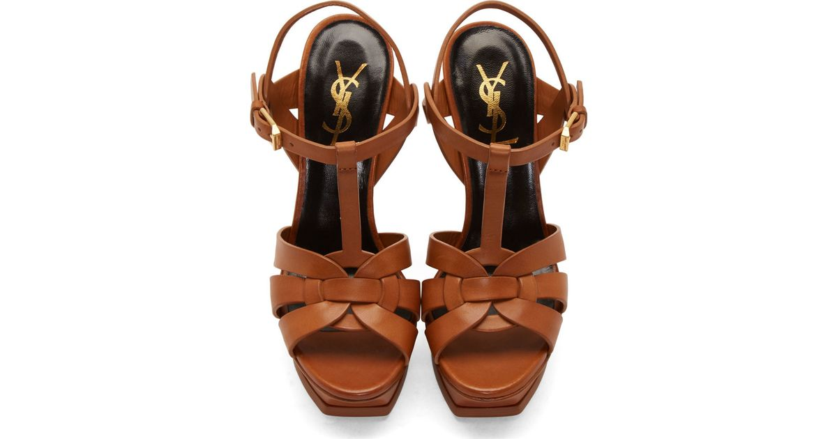 5d75f427c061 Lyst - Saint Laurent Cognac Leather Tribute Platform Sandals in Brown