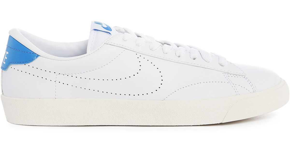 nike tennis classic ac white blue sneakers in white for