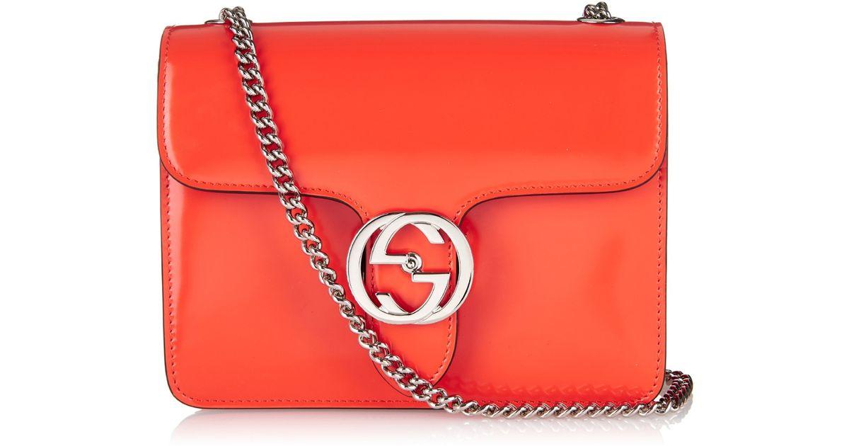 8779b5f8aaa72 Gucci Line B Mini Patent-Leather Cross-Body Bag in Orange - Lyst