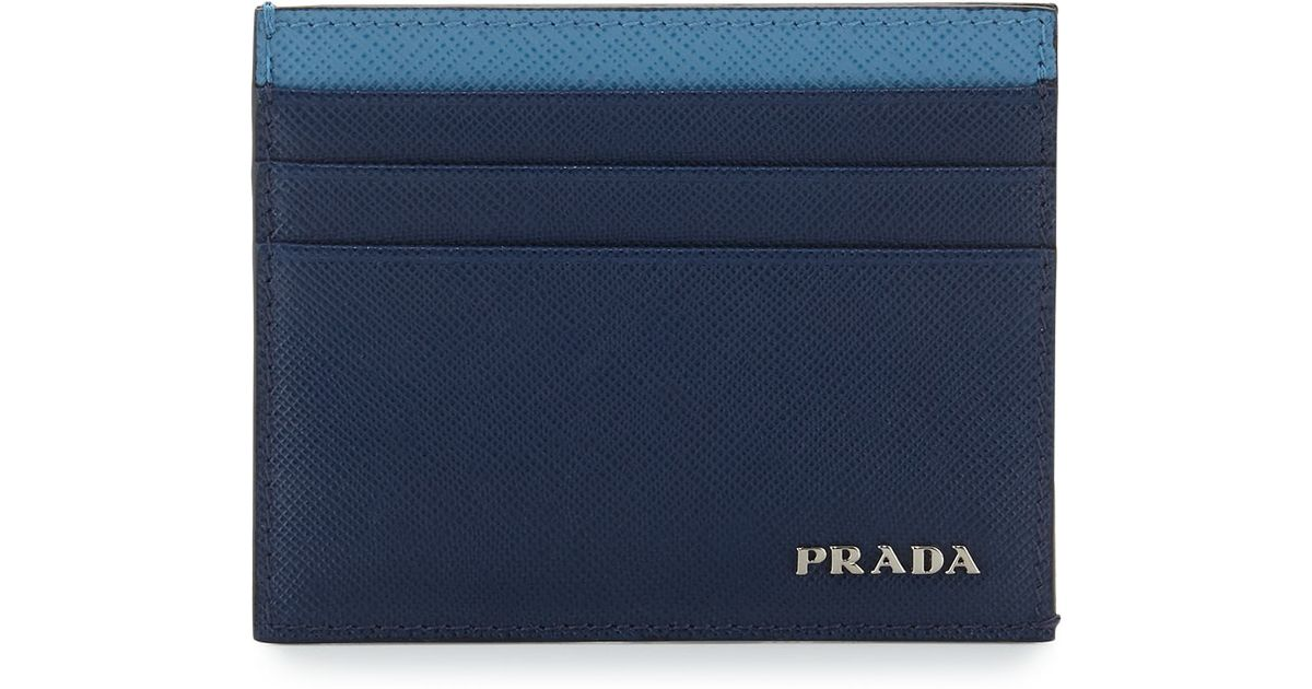 fe77bf7ee2c8 Prada Saffiano Leather Card Case in Blue for Men - Lyst