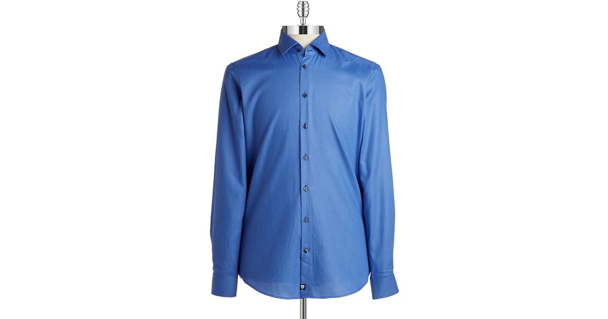 strellson slim fit textured sportshirt in blue for men lyst. Black Bedroom Furniture Sets. Home Design Ideas