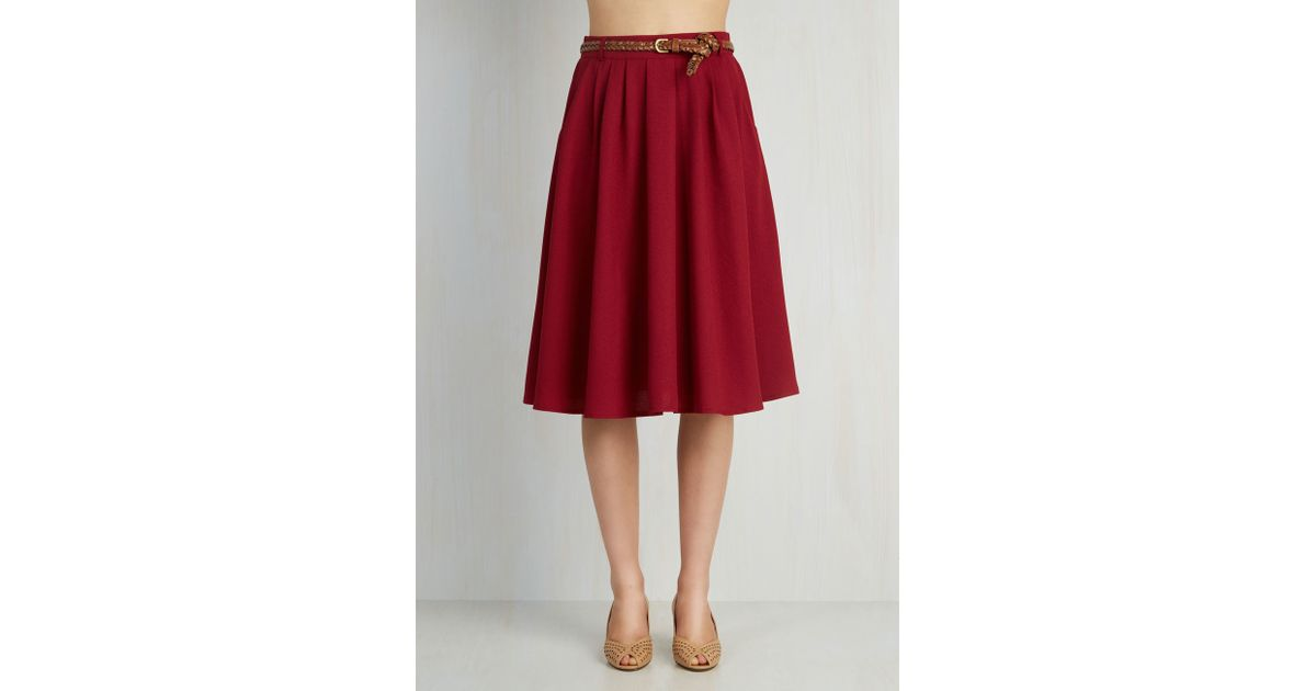 84b400aff Lyst - Hot & Delicious Breathtaking Tiger Lilies Skirt In Merlot in Red