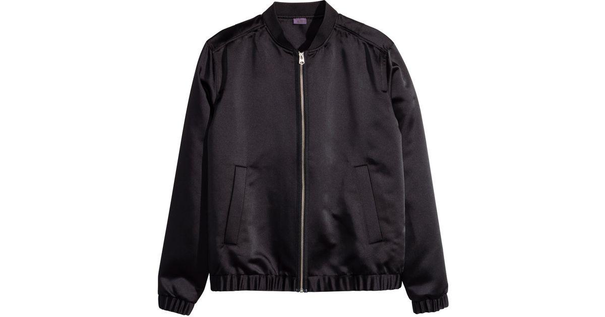 7346987b1 H&M Black Satin Bomber Jacket for men