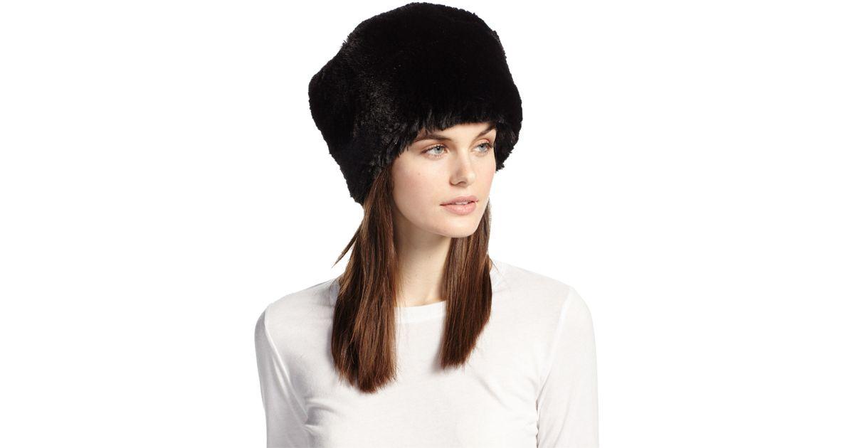d799ea61c Neiman Marcus Faux-fur Russian Hat in Black - Lyst